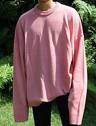Standard Pullover Da uomo-Casual Tinta unita Girocollo Manica lunga Altro Primavera Inverno Medio spessore Media elasticità