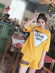 Mujer Simple Casual/Diario Verano T-Shirt Pantalón Trajes,Escote Redondo Letra Manga Corta Microelástico