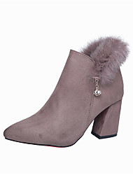 Women's Boots Comfort Fall Winter Fabric Casual Zipper Chunky Heel Khaki Army Green Black 2in-2 3/4in