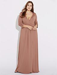 Robe Aux femmes Grandes Tailles Grandes Tailles , Couleur Pleine V Profond Maxi Polyester