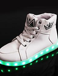 Черный Белый-Унисекс-Повседневный Для занятий спортом-Полиуретан-На плоской подошве-Удобная обувь Пинетки С ремешком на лодыжке Light Up