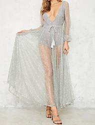 Balançoire Robe Femme Soirée Sexy,Couleur Pleine V Profond Maxi Manches Longues Polyester Automne Taille Haute Micro-élastique Fin