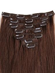 зажим в выдвижениях человеческих волос 100% remy реальные человеческие волосы прямые различные цветы для красоты женщин 70g / 100g