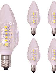 3w e14 de cristal levou lâmpada de vela para lustre smd2835 260 lm quente / frio branco 220v - 240v (5 pcs)
