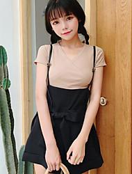 Mujer Simple Casual/Diario Primavera T-Shirt Pantalón Trajes,Escote en Pico Un Color Manga Corta Microelástico