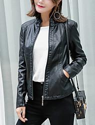 Для женщин Спорт Для клуба Осень Зима Кожаные куртки Воротник-стойка,Винтаж Шинуазери (китайский стиль) Однотонный Обычная Длинный рукав,