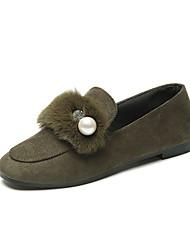 Для женщин Обувь Ткань Зима Удобная обувь Мокасины и Свитер На плоской подошве Искусственный жемчуг Назначение Повседневные Черный Желтый