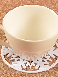 2pcs Christmas Red White Snowflake Glasses Mat Drinking Cup Tea Coaster Table Decoration Holiday