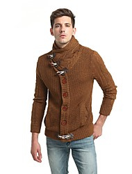 Men's Going out Casual/Daily Regular Cardigan,Solid V Neck Long Sleeves Wool Spandex Fall Winter Thick Stretchy