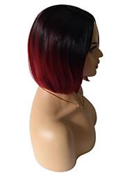 Mujer Pelucas sintéticas Sin Tapa Medio Liso Vino negro / oscuro Pelo Ombre Raíces oscuras Peluca de celebridades Pelucas para Disfraz