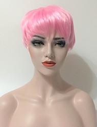 Mujer Pelucas sintéticas Sin Tapa Corto Liso Rosa Pelo de seda base Entradas Naturales Corte Pixie Corte asimétrico Peluca de cosplay