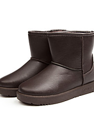 Women's Shoes PU Winter Snow Boots Fashion Boots Boots Flat Heel For Outdoor Khaki Brown Black