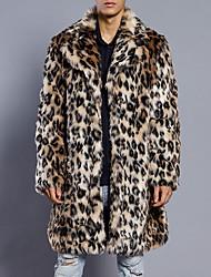 Hombre Simple Casual/Diario Tallas Grandes Otoño Invierno Abrigo de Piel,Cuello Camisero Leopardo Manga Larga Piel Sintética Largo