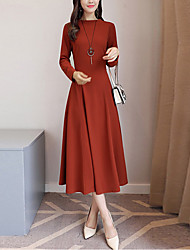 Women's Party Going out Casual/Daily Vintage Boho Street chic Sheath Dress,Solid Crew Neck Midi Long Sleeves Others Fall Winter Mid Rise