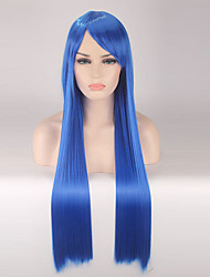 Mujer Pelucas sintéticas Sin Tapa Largo Liso Azul Real Peluca de cosplay Las pelucas del traje