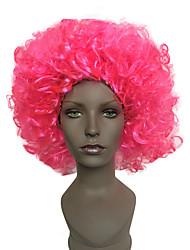 Mujer Corto Rizos Jheri Rosa Peluca afroamericana Peluca de Halloween Las pelucas del traje