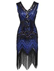 Danse latine Robes Femme Spectacle Polyester Pailleté Paillette 1 Pièce Sans manche Taille haute Robe