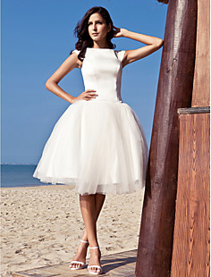 Ball Gown Bateau Knee-length Satin Tulle Wedding Dress inspired by Audrey Hepburn Funny Face