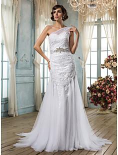 트럼펫 / 인어 하나 어깨 얇은 명주 그물 웨딩 드레스