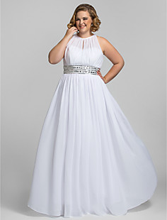 Plus Size Sheath/Column High Neck Floor-length Chiffon Stretch Satin Evening/Prom Dress