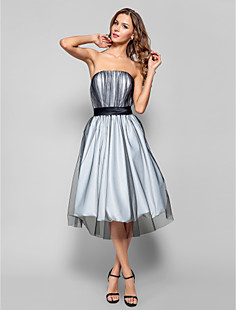 A-line Strapless Knee-length Tulle Cocktail Dress