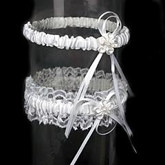 2-teilige Satin mit Blumen Hochzeit Strumpfbänder