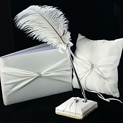 3 Collection Set White Guest Book / Pen Set / Ring Pillow