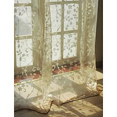 Európai nappaliban virágos botanikai bézs két panel áttetsző függönyök árnyalatok