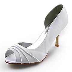 satén horní jehlové podpatku peep toe boty svatební svatební