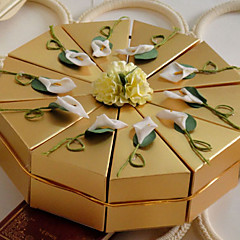 White Lily Golden Cake Favor Box (Set of 10)