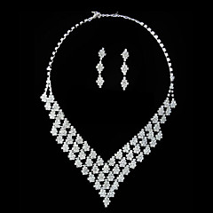 Gorgeous Rhinestone Shining Ladies Necklace and Earrings Jewelry Set (45 cm)