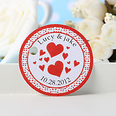 Personalized Favor Tag - Red Heart (Set of 36)