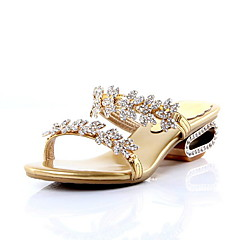 Women's Shoes Leather Spring / Summer / Fall Slide Dress Low Heel Rhinestone Black / Gold