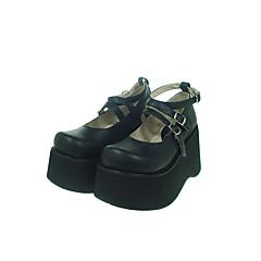 Sapatos Gótica Lolita Plataforma Sapatos Cor Única 10 CM Preto Para Feminino Couro PU/Couro de Poliuretano