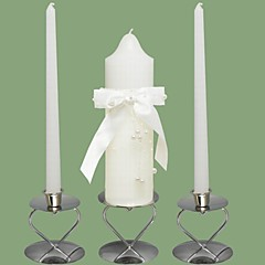 Pearl Waterfall Wedding Unity Candles Set-White (Candle Holders Not Included)