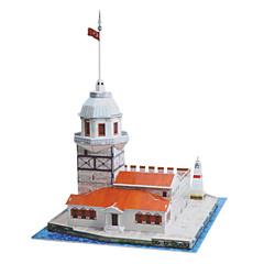 ジグソーパズル 3Dパズル ビルディングブロック DIYのおもちゃ 城 ペーパー シルバー / アイボリー プラモデル&組み立ておもちゃ