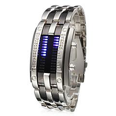 גברים שעון יד ייחודי Creative צפה דיגיטלי LED לוח שנה מתכת אל חלד להקה כסף כסף