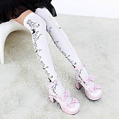 Socks/Stockings Gothic Lolita Lolita Lolita White / Black Lolita Accessories Stockings Floral For Women Cotton