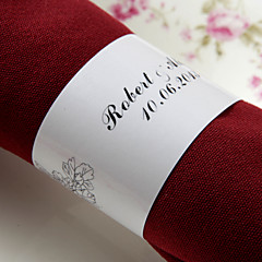 טבעת מפיות נייר אישית - פרחים שחורים (סט של 50)