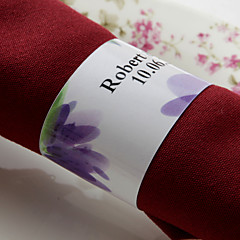 טבעת מפיות נייר אישית - פרח סגול (סט של 50)