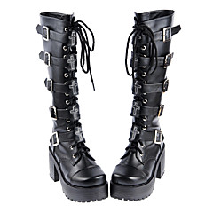 Lolita Shoes Gothic Lolita Handmade High Heel Shoes Solid 8 CM For PU Leather/Polyurethane Leather Polyurethane Leather