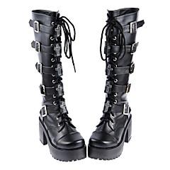Sapatos Gótica Confeccionada à Mão Salto Alto Sapatos Cor Única 8 CM Preto Para Feminino Couro PU/Couro de Poliuretano