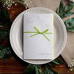Garden Themed Embossed Wedding Invitation With Sage Bow (Set of 50)