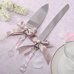 conjuntos que sirven cuchillo pastel de bodas personalizado porción conjunto con arco de la cinta