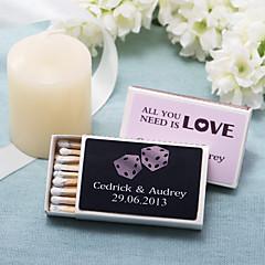 decoração de casamento caixas de fósforos personalizadas - dados (conjunto de 12)