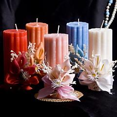 bunte Kerze mit Blumen Korallen Hochzeit