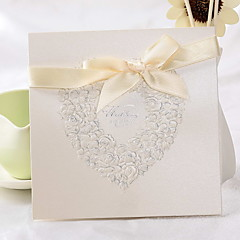Classic Heart Design Square Wedding Invitation With Ribbon Bowknot (Set of 50)