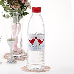 Garrafa de água personalizada Sticker - Beijando pássaros (Red / conjunto de 15)