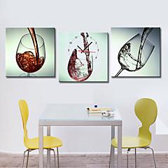 moderne Wein-Glas-Wanduhr in Segeltuch 3pcs