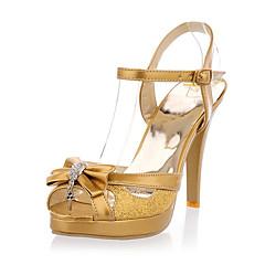 Pelle verniciata glitter scintillanti tacco a spillo piattaforma sandali con strass bowknot